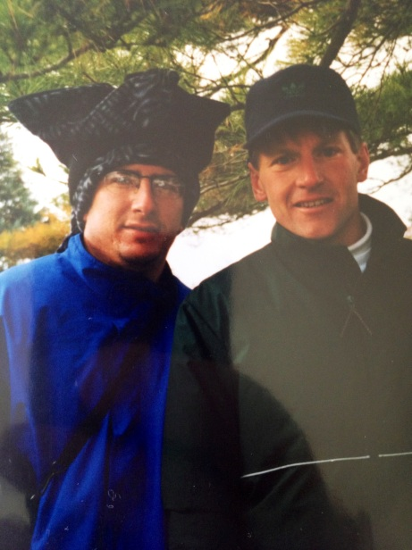 One of my favorite pics with Kevin -- 1994 State Cross Country Meet. Go ahead and make fun of my hat!