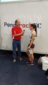 Courtney being interviewed by Phil Grove for PennTrack.